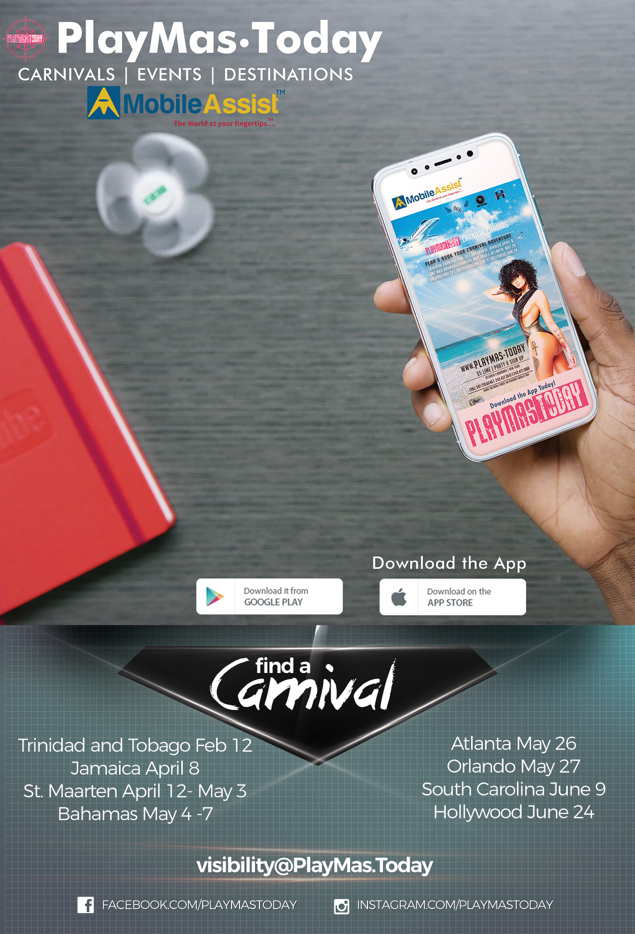 Find out where the next Lime, event or festival is. Discover how you can win tickets, costumes and sponsored items from Carnival bands and Caribbean events around the world.  Have the world at your fingertips with Mobile Assist App and PlayMas.Today!