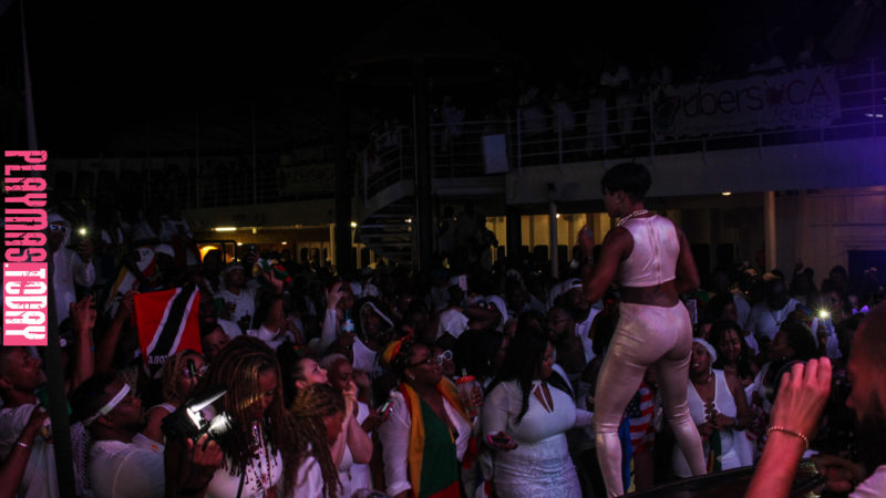 Kes & Patrice Roberts share their new single with Uber Soca Cruise supporters during the all-white party, poolside.