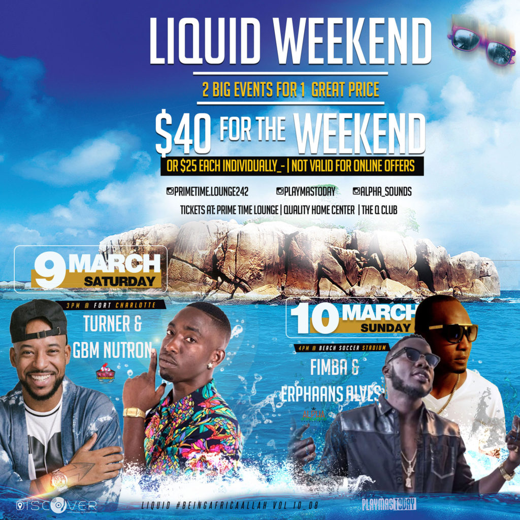 Liquid weekend in Nassau, Bahamas. Splash Soaker Day Fete & Twisted Cooler Fete March 9 -10. Bahamas Carnival, Mas in Paradise SOCA Music