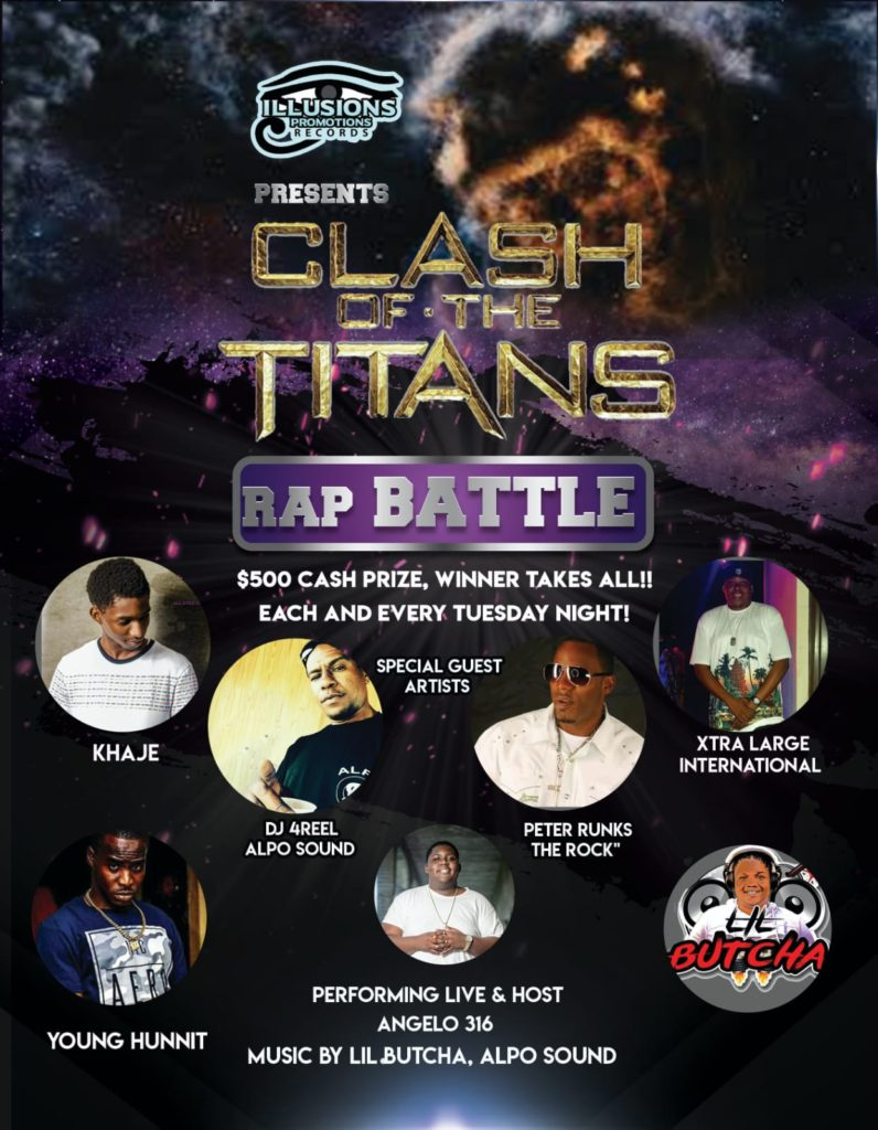 Phat Saturday Cypha  on 100 JAMZ now Sponsored by Clash of the Titans Rap Battle at Stars Lounge (Tuesdays) Nassau, Bahamas