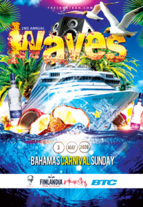 DJ Bravo & Fresh Ent Bah team up for Waves Bahamas Carnival Sunday All-Inclusive(Food & Drinks) Boat Ride leaving from Porters Cay Dock at 2:45pm. Waves 2020 is Designed and Developed Locally By a Team of Bacchanalists You Know and Love. Don't Miss Out.