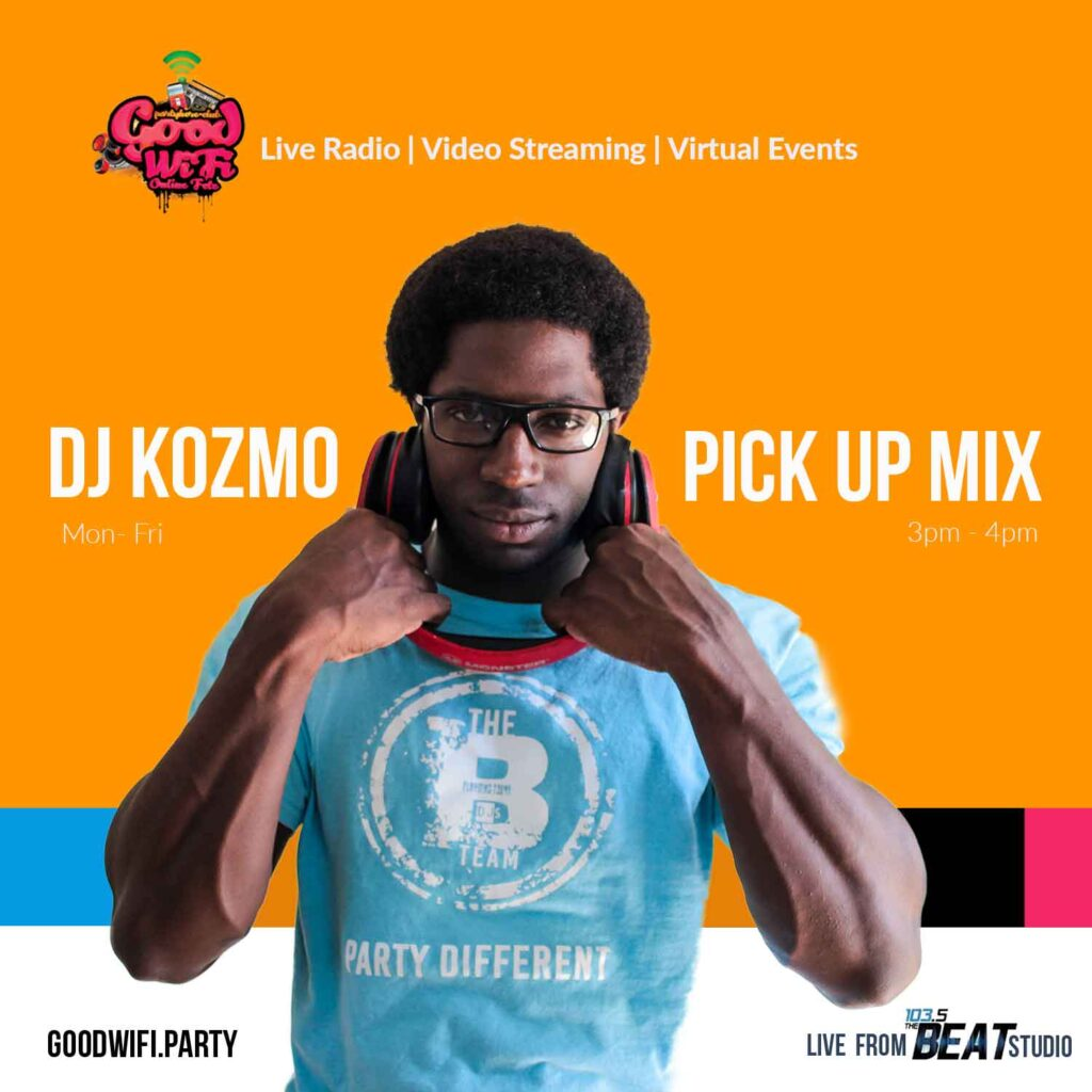 DJ Kozmo Live on 103.5 FM the Beat Bahamas. Video stream 3-4pm Pick Up Mix