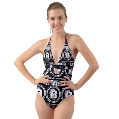 Inspired Freedom Lux Branded Halter Cut-out One Piece Swimsuit