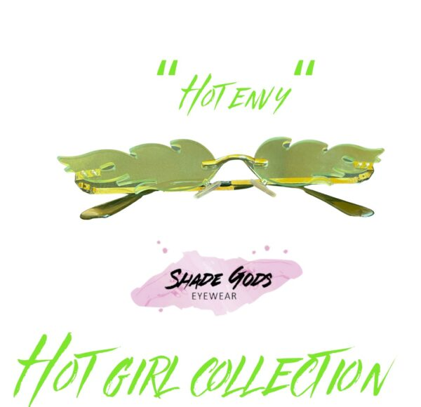 """Shade Gods """"Hot Girl"""" Collection •Colors and Names: -Lime Green """"Hot Envy"""" -Red """"Flamin Hot"""" -Yellow """"Helios"""" -Dark Green/ Black """"Obsidian"""" -Purple """"Act Right"""""""