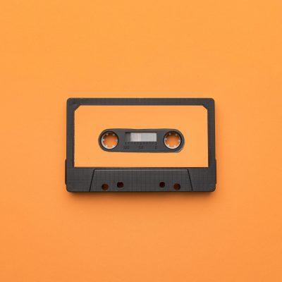 vintage-cassette-tape-orange-background